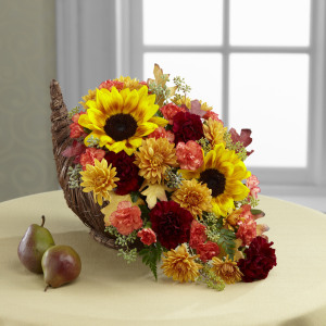 Fall Harvest Cornucopia by The Flowerloft